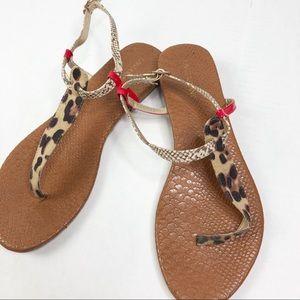 Lane Bryant Cheetah Print & Red Snakeskin Sandals